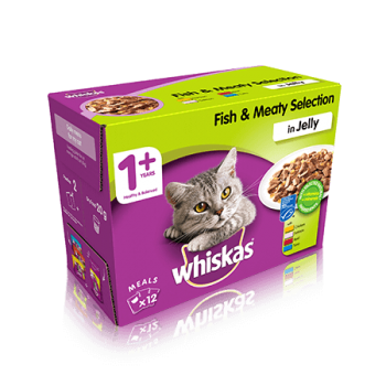 WHISKAS® 1+ Cat Pouches Fish & Meaty Selection in Jelly 12x100g pk