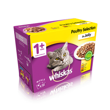 WHISKAS® 1+ Cat Pouches Poultry Selection in Jelly 12x100g pk