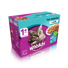 WHISKAS® 1+ Years Cat Pouches Fish Selection in Jelly 12 x 100g