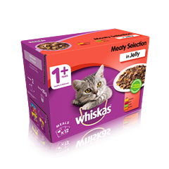 WHISKAS® 1+ Years Cat Pouches Meaty Selection in Jelly 12 x 100g