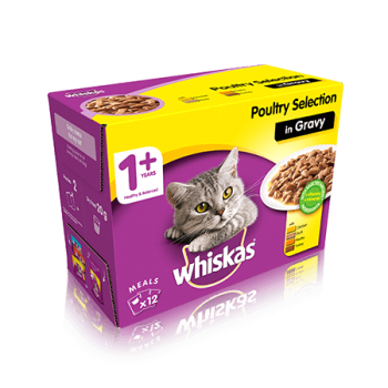 WHISKAS® 1+ Years Cat Pouches Poultry Selection in Gravy 12 x 100g